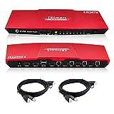 TESmart KVM Switch HDMI 4K 4 Input 1 Output 3840x2160@30Hz mit 2 Stück 5ft/1.5m KVM Kabeln unterstützt USB 2.0 Device Control bis zu 4 Computer/Server/DVR (Rot)