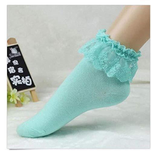 WYLLA Kurze Socken,5 Paar Süße Frauen Socken Vintage Spitze Rüschen Rüschen Söckchen Lady Princess Girl Favorit Casual Socken -