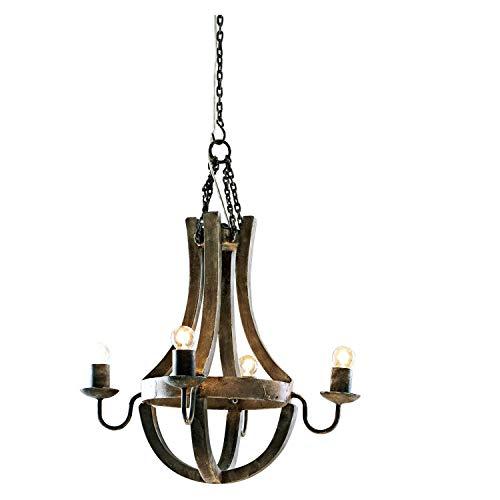 Loberon Leuchter Aspen, Mangoholz/Lampenhalter: Eisen, H/Ø ca. 58/50 cm, braun, Energieeffizienzklassen A++ bis E