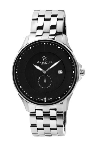 Design Christina London Damenuhr Quarz Men'mit schwarzem Zifferblatt Analog-Anzeige und Silber-Edelstahl-Armband 518SBL
