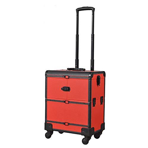 Zzyq Vielzweck-Universalrad Mit Großem Fassungsvermögen Beauty Trolley Box Reise-Make-Up-Koffer,Red
