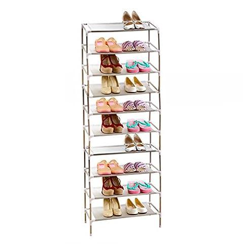 AcornFort® S-115 10 Tier Adjustable Shoe Storage Shoe Rack Organiser Shelf Hold Stand for 30 Pairs , Space Saving , Easy