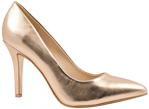 Elara Spitze Damen Pumps | Bequeme Lack Stilettos | Elegante High Heels | chunkyrayan JA70-Champagner-40