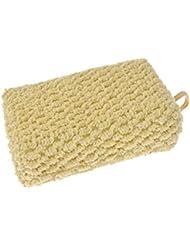 Eponge recouverte de crin, fibre naturel, exfoliant gommage pour le corps, rectangle 12x7,5x3,5cm