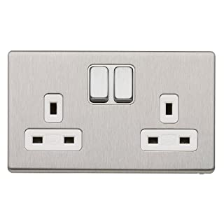 MK Aspect K24347 BSS W 13A Dual Earth Double Switched Socket 2-Gang Brushed Stainless Steel with Double Pole