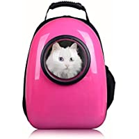 Petcomer Mochila Cápsula Impermeable Transportín en Forma de Burbuja para Mascotas Perros Gatos (Rosa)