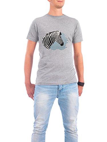 """Design T-Shirt Männer Continental Cotton """"Winter white-striped Zebra"""" - stylisches Shirt Tiere Abstrakt Reise / Afrika von Heidi Weder Grau"""