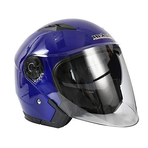 Jet Helm Motorrad Bobber Biker Moto Helm Pilot Chopper Mofa Vintage Helmet Vespa-Helm Roller-Helm Jethelm (Blau, XL:58-59CM)
