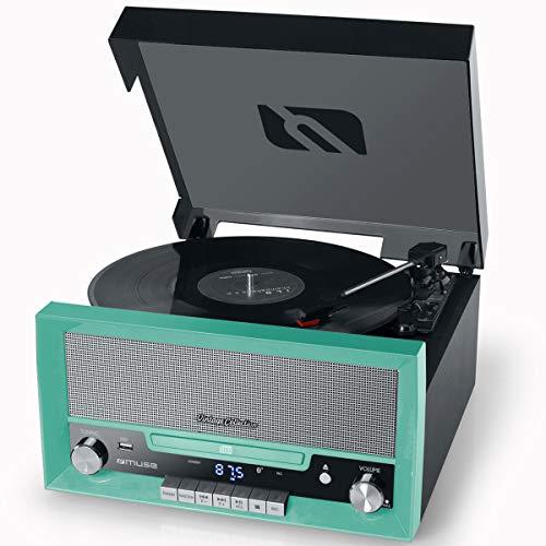 Muse MT-110 B Retro Stereo-Anlage mit Plattenspieler, Bluetooth, CD-Player und Radio mit USB für Wiedergabe und Aufnahme, grün