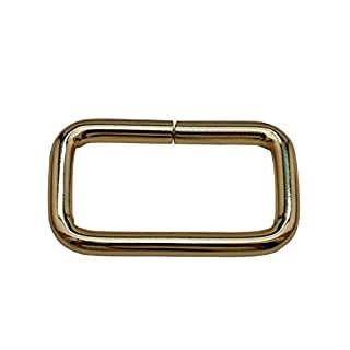 Amanaote Light Golden 1.5X0.8 Inner Dimension Non Welded Rectangle Buckle for Strap Pack of 6 by Amanaote