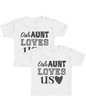 Our Aunt Loves Us Baby Zwillinge T-Shirts, Baby Zwillinge Jungen T-Shirts, Baby Zwillinge Mädchen T-Shirts