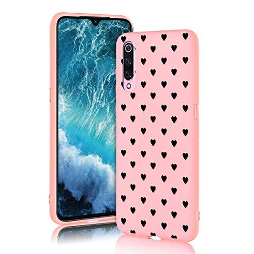 ZhuoFan Funda Xiaomi Mi 9 SE, Cárcasa Silicona Rosa con Dibujos Diseño Suave Gel TPU Antigolpes de Protector Piel Case Cover Bumper Fundas para Movil Xiaomi Mi 9SE, Amor Negro