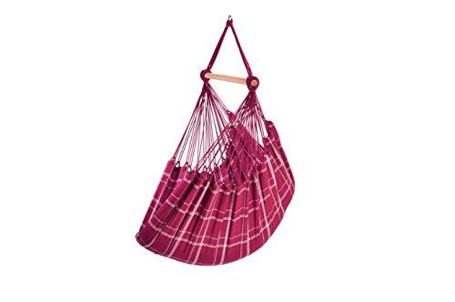 Chaise-hamac, 100% coton, 120 x 160 cm, charge max. 120 kg, traverse 110 cm, incl. crochet spécial + ressort de torsion, rose