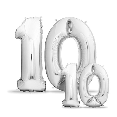 Luftballons 10. Geburtstag XXL Silber - Riesen Folienballon in 2 Größen 40