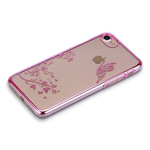 FESELE Custodia iPhone 7 Cover,iPhone 7 Custodia Trasparent in PC Cover,Sparkles Cristallo Ultra Sottile Cover Glitter Custodia per iPhone 7,Rigida Custodia con Lusso Placcatura Telaio e Elegante Bell Rosa Farfalla