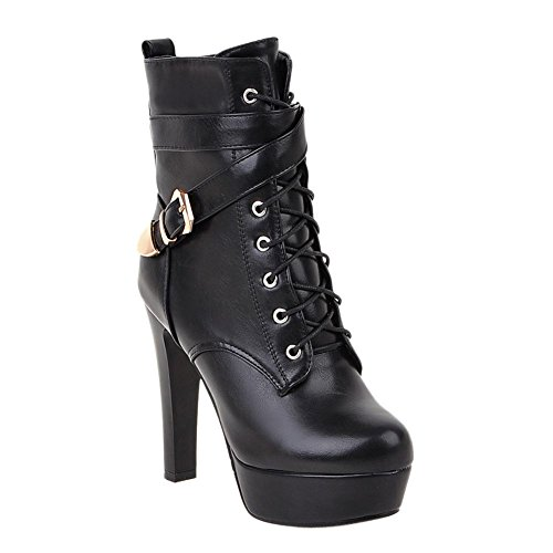 Mee Shoes Damen Plateau runde kurzschaft high heels Stiefel Schwarz