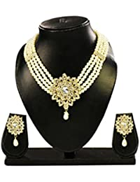 Chitralekha 4 Layer Stylish Pearl Necklace Jewellery Set With Earrings For Women / Girls