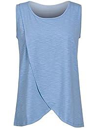 Cinnamou Premamá Lactancia Blusa de Sin Mangas,Camiseta de Mujer Maternidad de Doble Capa Breastfeeding