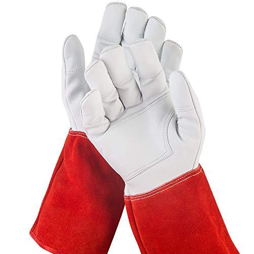 NoCry dornensichere und stichfeste Gartenhandschuhe aus Leder mit extra langem Unterarm-Schaft, verstärkten Handflächen und Fingerspitzen, Größe S, 1 Paar - Rot Leder Liegen