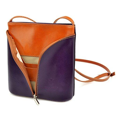 f6729b8376934 Vera Pelle Handtaschen Italien Echt Leder Schultertasche Frauen Damen  Tasche Handtasche Ital Bag Lila Brown