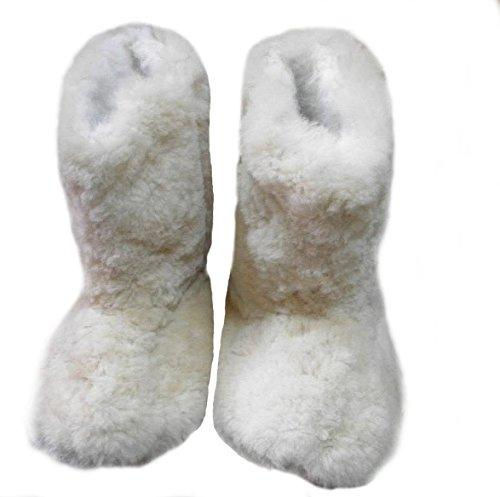 Alpacaandmore Weiß Braune Unisex Alpaka Fellschuhe Hausschuhe Fellstiefel Alpaka Fell (36)