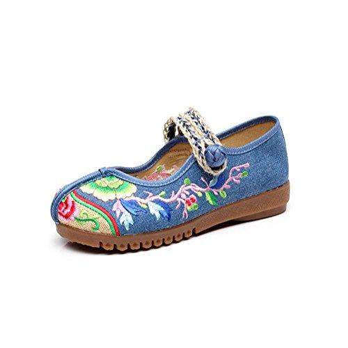 Traditionelle Baseball (Chinesische traditionelle gestickte Schuhe Sommer Damen Casual Schuhe Nähen von Hand Leicht und bequem zu tragen , blue , 35)