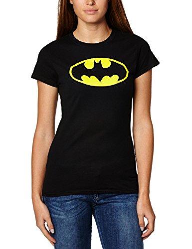 Batman Kostüme Shirt (Damen Batman Logo bedruckte Rundhalsausschnitt Kurzarm T-Shirt Sommer Top (M/L 40-42,)