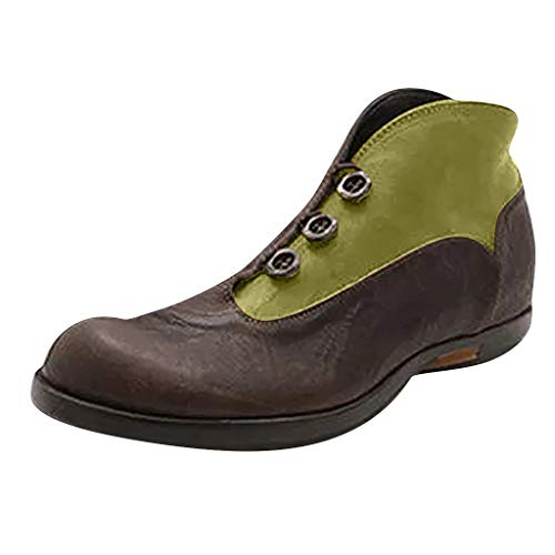 Stiefeletten Damen Sommer Sandalen Low Top Ankle Boots Kurzschaft Stiefel Schuhe Bequeme Retro Halbschuhe Elegant Schuhe Römersandalen (EU:38, Grün)