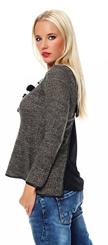Moda Italy Manteau à manches longues Grobstrick Pullover Sweatshirt Sweatshirt Leatherette Cappuccino