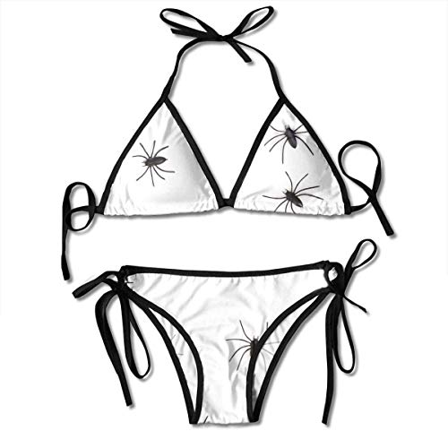 Sexy Triangle Bathing Two Pieces Halloween Danger Fear Group Horror Insect Spider Ladies Women Girl Summer Dress Beach Outfit Set Bikini Two-Piece ()