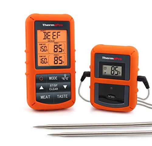 ThermoPro TP20 Digital Funk Bratenthermometer Grillthermometer Ofenthermometer Thermometer Wireless mit 2 Temperaturfühlern für BBQ, Ofen und Grills