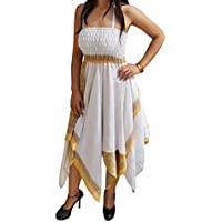 Mogul Interior Freya Women Halter Dress Handkercheif Hem Recycled Sari Two Layered Holiday Sundresses S/M