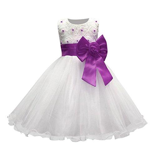 Btruely Mädchen Prinzessin Kleid Brautjungfern Kleid Hochzeit Abendkleid Formale Cocktailkleid Ballkleid Blumenkleid Bowknot Partykleid Tüll Kinder Spitze Kleid Bogen Hochzeitskleid (110, Lila)