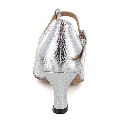 Scarpe da ballo-Personalizzabile-Da donna-Balli latino-americani-Tacco su misura-Finta pelle-Nero / Marrone / Argento / Grigio Grey