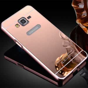 Samsung Galaxy E7 Case, Relax&Shop Luxury Aluminium Bumper With Mirror Acrylic Back For Samsung Galaxy E7 - Rose Gold