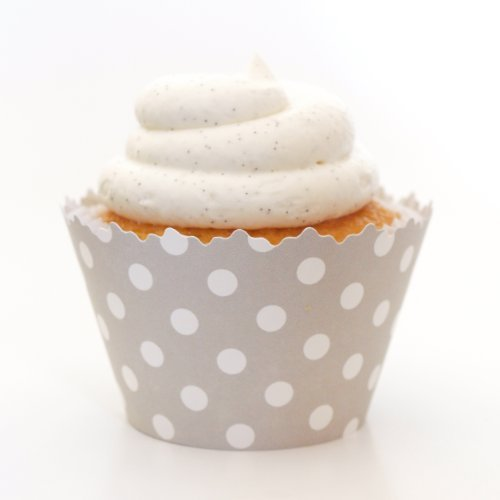 Grau Polka Dots Cupcake Wrapper-Set von 12-Polkadot Liners Wrap & Koordinieren W/Cup Cake Topper oder Plektrum Dots Cupcake Liner