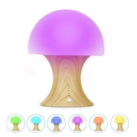 Welltop Multi Color LED Night Light silicone funghi scuola materna dei bambini della luce di notte dimmerabili Timer lampada di umore con Warm White & 7 Colorful modalità di illuminazione, USB ricaricabile lampada da tavolo per bambini adulti Camera