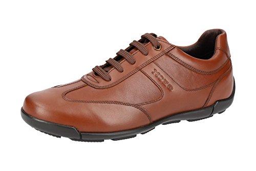 Geox U743BB Edgware Sportlicher Herren Business Sneaker, Schnürhalbschuh, Freizeitschuh, Atmungsaktiv Braun (Cognac), EU 43