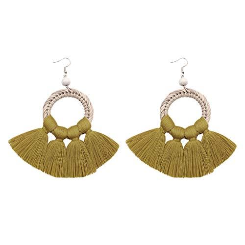 Haludock Bohemian Handmade Geometric Tassels gefringelte Fan-Ohrringe für Damen Schmuck -