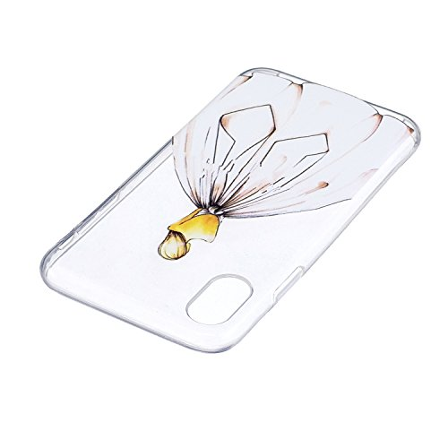 Per iPhone X,Sunrive Custodia Cover Case in molle Trasparente Ultra Sottile TPU silicone Morbida Flessibile Pelle Antigraffio protettiva(tpu fiore) tpu Girl 1