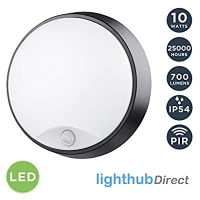 LightHub 10W LED Outdoor Round Circular Wall Mounted PIR Motion Sensor Bulkhead Light Fixture with Black Trim - Perfect for Garden, Shed, Porch, Garage, Workshop, Patio etc - inexpensive UK light shop.