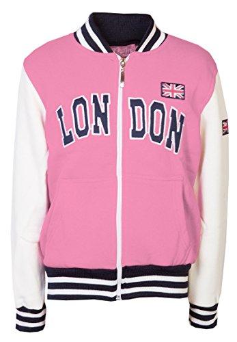Bambini giacche felpa da Baseball bambine London College Top Zip Pink 11-12 Anni