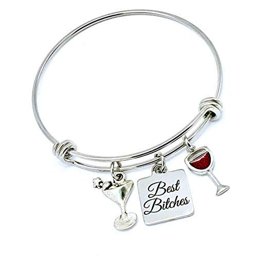 Gioielli Jesse Janes Migliori donne Bitches, Best Friends Wine, Cocktail Lovers Bangle Bracelet Silver Red