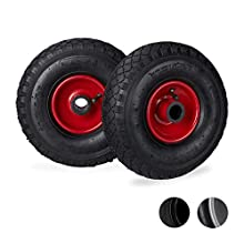 Relaxdays Hand Truck Spare Tyres Set of 2, 3.00-4, Pneumatic Wheels with Steel Rim, 25 Hub Diameter, Multicolour, Black-red