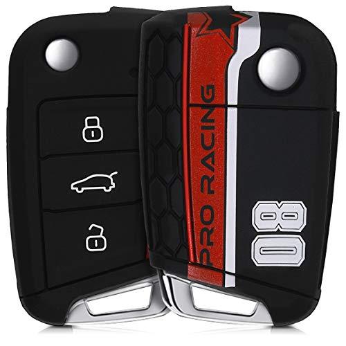 kwmobile Autoschlüssel Hülle für VW Golf 7 MK7 - Silikon Schutzhülle Schlüsselhülle Cover für VW Golf 7 MK7 3-Tasten Autoschlüssel Rot Weiß Schwarz (Kfz-zubehör Seat Cover-sets)