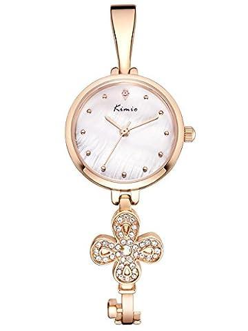 Alienwork Quartz Watch bracelet chain warp Wristwatch elegant stylish Metal white rose gold YH.K6212S-03