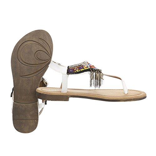 Ital-Design Scarpe da Donna Sandali Tacco a Blocco Infradito bianco BM201-2