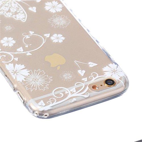 iphone 6 Coque, MYTH Doux Flexible - Coloré Parapluie Slim Silicone Ultra Mince TPU Bumper Protection Housse Pour iphone 6 / iphone 6s Solide Blanc Papillon