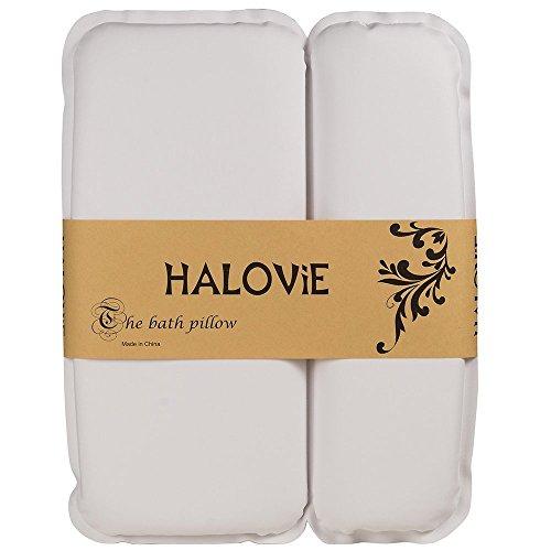 HALOViE Badewannenkissen Wannenkissen Komfort Badekissen Badewanne Kopfkissen aus PU Wasserdichter Schwamm mit 7 Saugnäpfen, Weiß