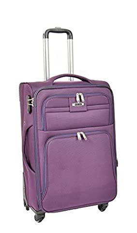 4 Wheel Soft Suitcase Lightweight Spinner Travel Trolley Expandable Luggage H910 Purple (MEDIUM | 68x43x27cm/